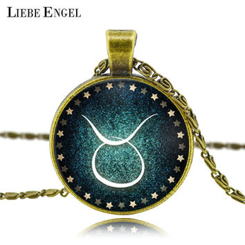 LIEBE ENGEL Zodiac pendant necklace glass cabochon antique Bronze necklace art picture statement necklace Constellation fashion