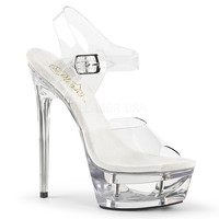 "Eclipse 608 Clear Cut Out Platform 6.5"" Heel Ankle Strap"