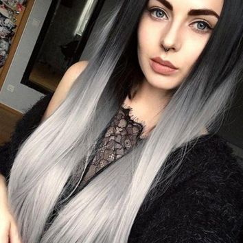Light Grey Ombre Synthetic Lace Front Wig