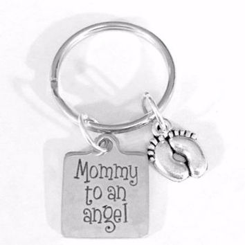 Mommy To An Angel Baby Feet Child In Memory Remembrance Sympathy Gift Keychain
