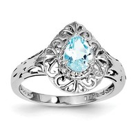 Sterling Silver Sky Blue Topaz Teardrop Filigree Ring