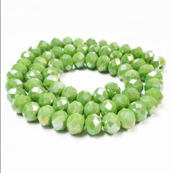 69 Green Rondelle Beads, 6x8mm Faceted Glass Beads , Spacer Beads, Bead Supply, Green faceted rondelle beads, rondelle beads