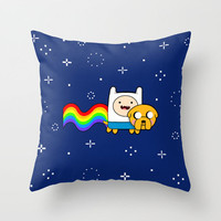 Nyan Time: Adventure Time plus Nyan Cat Throw Pillow by Olechka | Society6