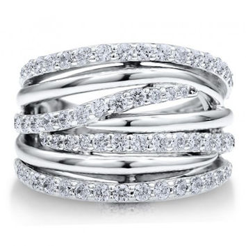 Multi Strand Woven Sterling Silver and CZ Ring