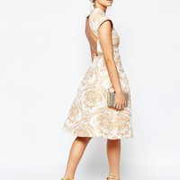 Chi Chi London High Neck Structured Skater Dress In Baroque Print
