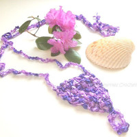 Crochet Barefoot Sandals Sexy Foot Jewelry Lavender Periwinkle Ladder Ribbon Yarn Yoga Anklet Pool Beach Wedding Accessories
