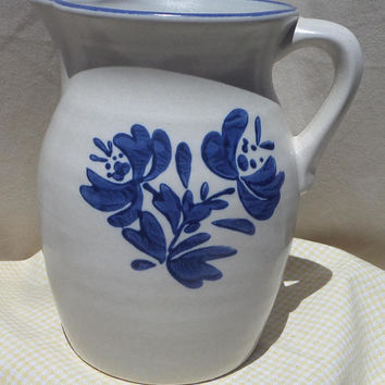 Pfaltzgraff Stoneware Pitcher 64 ounce, Blue and White, Blue and Grey, Yorktowne Pattern, Farmhouse Kitchen Decor Pottery, #416Y