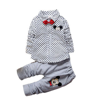 Spring Kids Boys Button Cartoon Mickey Mouse Dots Jacket Striped Pants Clothing Suit Sets Children Toddlers Clothes Baby Coat
