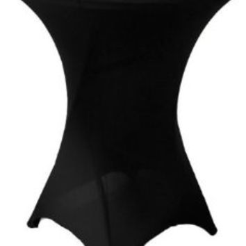 LA Linen Cocktail Spandex Fitted Stretchable Elastic Tablecloth, 36-Inch, Black