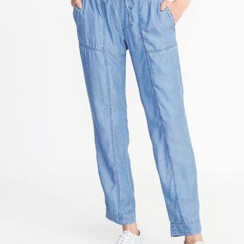 Mid-Rise Tencel® Utility Cropped Pants for Women | Old Navy
