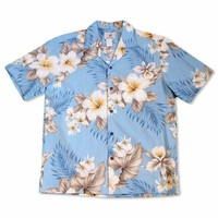 Hibiscus Joy Blue Hawaiian Cotton Shirt