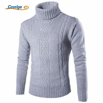 Male Sweater Pullover Slim Warm Solid High Lapel Jacquard Hedging British Men's Clothing