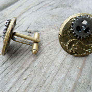 Men's Steampunk Cuff Links, Watch Gear Cufflinks, Gear Cufflink, Brass Cufflinks