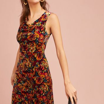 Printed Velvet Column Dress