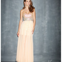 Night Moves by Allure 2014 Prom Dresses - Peach Chiffon Overskirt & Fitted Bodice Prom Dress