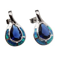 Teardrop Sterling Silver Stud Earrings Blue Opal Ocean Sapphire Jewelry