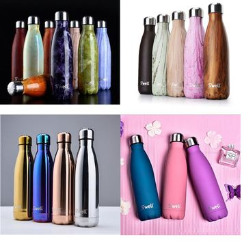 17oz Hand Painted NIB S'WELL Teakwood 17OZ Water Bottle thermos vacuum flask bottle water bottle cup sports bottle