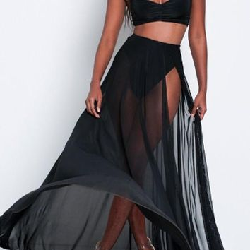 Black Patchwork Cut Out Draped Side Slit Two Piece Bohemian Maxi Dress