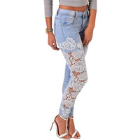 New brand 2015 HIgh quality women Long Lace Floral Skinny Spliced Hollow out Hole Straight Denim pencil pants Jeans