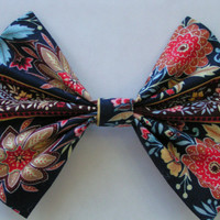 BLUE PEACH FLORAL fabric barrette for teens and women,french barrette, hair bows bow hair clip big bow hair clip
