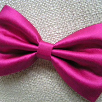 Hair Bow - Fuchsia Color Satin Hair Bow Clip, fabric hair bow, large fabric bow, hair barrette, satin bow,bows for girls,hair bows for women