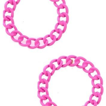Fuchsia Colored Metal Large Chain Ring Earring