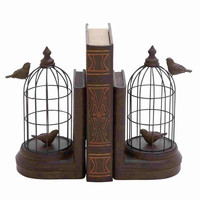 Benzara Modena Bird Cage Bookend Pair Delightful Creation
