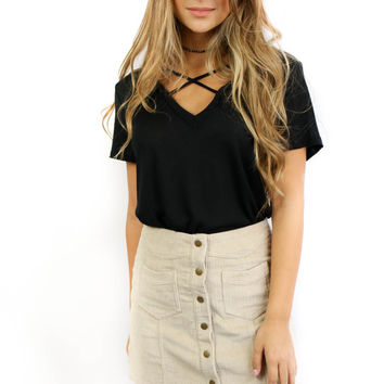 With or Without You Black Short Sleeve Top