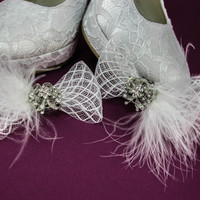 Crystal Wedding Shoe Clips, Marabou Bridal Shoe Clips, Shoe Decorations, Rhinestone Shoe Clips, Shoe Embellishments, Shoe Brooches