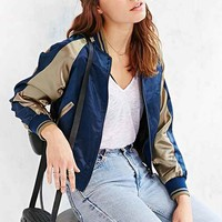 Members Only Satin Bomber Jacket- Navy