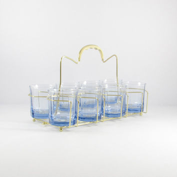 Vintage Anchor Hocking Ice Blue Paneled Essex Low Ball Glasses, Set of Eight with Caddy, Mid-Century Barware