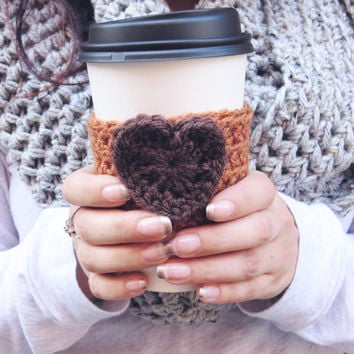 Pumpkin Spice Latte Cozy Crochet Cup Cozy Heart Coffee Cup Sleeve in Orange and Brown