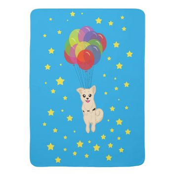Puppy with Balloons Baby Blankets