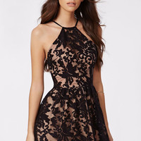 Black Floral Lace Overlay with Halter Neck Skater Mini Dress