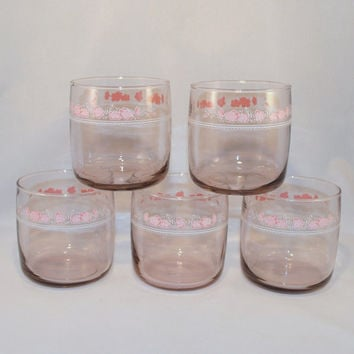 Glasses, Anchor Hocking Plaza Set of 5 juice Glasses, Pink Glass, Floral Pattern