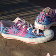 Peace Love and Tie Dye Converse All Star Sneakers with Peace Sign Charm