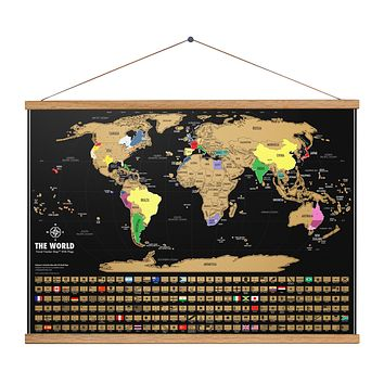 Framed Scratch Off Map Of The World - Black & Gold -  Scratch Off World Map Poster - 17 (h) X 24 (w) Inches - Includes 24 Inch Wide Hugger Frame - The Gift Travelers Want