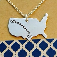 Long Distance Necklace Personalized United States Necklace -Long Distance Necklace - Best Friends Necklace- Moving Away Gift
