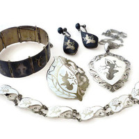 Siam Sterling Silver Jewelry Lot Bracelets, Brooch, Necklace, Earrings 78 Grams