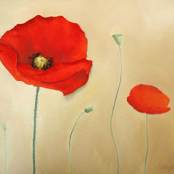Red Poppies Painting - Flowers in a Field Textured 3D Wall Art - Made to Order