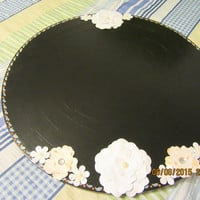 Up-Cycled Cottage Chic Round Hand Painted Chalkboard with Orange and White Accents