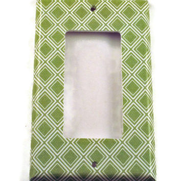 Rocker Light Switch Cover   Wall Decor Switch Plate in  Sage Diamonds  (107R)