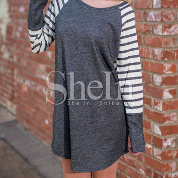 Grey Contrast Raglan Striped Sleeve Dress pictures   Grey Contrast Raglan Striped Sleeve Dress     1   Grey Contrast Raglan Striped Sleeve Dress