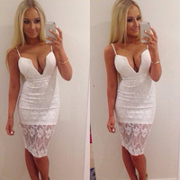 Sexy White Bra V-neck Lace Club Skirt One Piece Dress [6338847425]