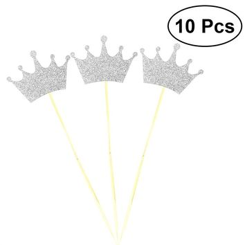 10pcs Glitter Crown Wedding Engagement Valentine's Day Wooden Cake Topper Photo Props FavorsMen