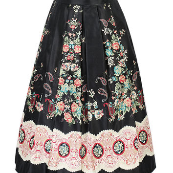 Black Floral Print High Waist Midi Skirt