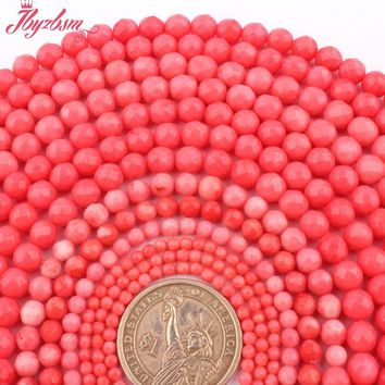 "Natural Round Faceted Pink Coral Stone Beads Strand 15"" 2,3,4,6,8,mm For DIY Necklace Bracelets Jewelry Making,Free Shipping"