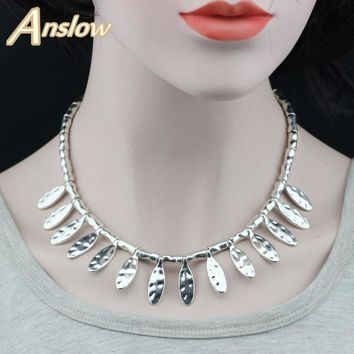 Anslow Hot Vintage Punk Rock Fashion Handmade Leaves Beads Leather Collar Chokers Necklace For Women Men Mother Day LOW0039AN