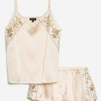 Embroidered Satin Pyjama Set | Topshop