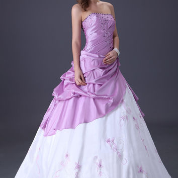 White and Purple Beaded Ruffled Quinceanera Dress